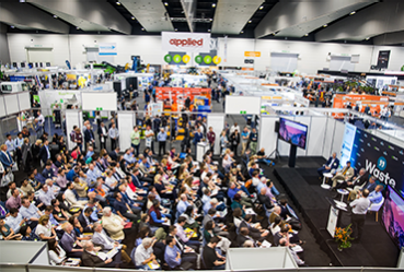Aerial view of conference crowds at Waste Expo Australia